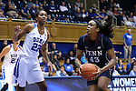 13 November 2016: Penn's Michelle Nwokedi (43) and Duke's Oderah Chidom (22). The Duke University Blue Devils hosted the University of Pennsylvania Quakers at Cameron Indoor Stadium in Durham, North Carolina in a 2016-17 NCAA Division I Women's Basketball game. Duke defeated Penn 68-55.
