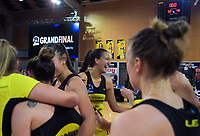 Aliyah Dunn (centre) celebrates winning the 2019 ANZ Premiership netball final match between the Central Pulse and Northern Stars at Te Rauparaha Arena in Wellington, New Zealand on Monday, 3 June 2019. Photo: Dave Lintott / lintottphoto.co.nz