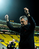 Phoenix coach Mark Rudan salutes fans after the A-League football match between Wellington Phoenix and Melbourne City FC at Westpac Stadium in Wellington, New Zealand on Sunday, 21 April 2019. Photo: Dave Lintott / lintottphoto.co.nz
