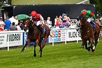Winner of The Molson Coors Handicap, Beepeecee ridden by Finley Marsh and trained by Richard Hughes  during Afternoon Racing at Salisbury Racecourse on 13th June 2017