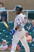 Surprise Saguaros first baseman Yanio Perez (47), of the Texas Rangers organization, at bat during an Arizona Fall League game against the Salt River Rafters at Salt River Fields at Talking Stick on October 23, 2018 in Scottsdale, Arizona. Salt River defeated Surprise 7-5 . (Zachary Lucy/Four Seam Images)