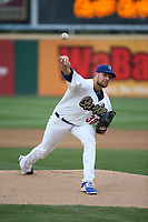 Adam Bray (38) of the Rancho Cucamonga Quakes pitches against the Modesto Nuts at LoanMart Field on August 2, 2017 in Rancho Cucamonga, California. Modesto defeated Rancho Cucamonga, 10-5. (Larry Goren/Four Seam Images)