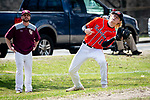WATERBURY,  CT-041319JS20- Watertown's Colin Cronin  (14) makes a catch in foul territory during their game with Sacred Heart Saturday at Waterville Park in Waterbury. <br /> Jim Shannon Republican American