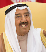 Amir Sabah al-Ahmed al-Jaber al-Sabah of Kuwait speaks to the media during a meeting with U.S. President Donald J. Trump(unseen) in the Oval Office of The White House in Washington, DC, September 7, 2017. Seated right is a translator. <br /> Credit: Chris Kleponis / Pool via CNP