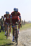 Michael Morkov (DEN) and Jenthe Biermans (BEL) Team Katusha Alpecin on pave sector 17 Hornaing a Windignies during the 115th edition of the Paris-Roubaix 2017 race running 257km Compiegne to Roubaix, France. 9th April 2017.<br /> Picture: Eoin Clarke | Cyclefile<br /> <br /> <br /> All photos usage must carry mandatory copyright credit (&copy; Cyclefile | Eoin Clarke)