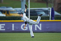 Campbell Camels right fielder Grant Harris (1) follows through on a throw during the game against the High Point Panthers at Williard Stadium on March 16, 2019 in  Winston-Salem, North Carolina. The Camels defeated the Panthers 13-8. (Brian Westerholt/Four Seam Images)