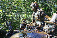 A view of the Alice in Wonderland bronze sculpture in Central Park