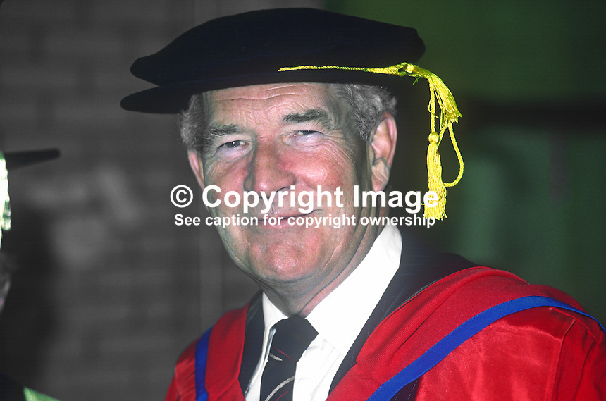 RB Henderson, aka Brum Henderson, managing director, Ulster Television Ltd, Belfast, N Ireland, who was recipient of honorary degree from the New University of Ulster at 1982 summer graduation ceremony. 198206000105RBH.<br />