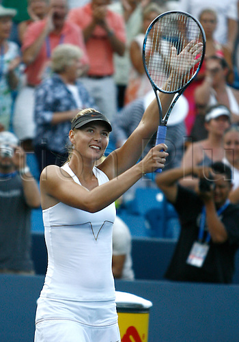 21.08.2011..Maria Sharpova [RUS] reacts after winning the 2011 Western & Southern Open Women's Championship at the Western & Southern Open at the Lindner Family Tennis Center in Mason, Ohio...Sharapova [RUS] defeated Jelena Jankovic [SRB] 4-6, 7-6, 6-3..