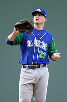 Starting pitcher J.C. Cloney (21) of the Lexington Legends waits to receive the ball back from the catcher during a game against the Greenville Drive on Saturday, September 1, 2018, at Fluor Field at the West End in Greenville, South Carolina. Greenville won, 9-6. (Tom Priddy/Four Seam Images)