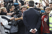 (Oslo July 23, 2011) Prime Minister Jens Stoltenberg talk to media the day after a shooting spree by a lone gunman who killed over 80 youths at a political camp. <br /> <br /> A large vehicle bomb was detonated near the offices of Norwegian Prime Minister Jens Stoltenberg on 22 July 2011. Although Stoltenberg was reportedly unharmed the blast resulted in several injuries and deaths. <br /> Another terrorist attack took place shortly afterwards, where a man killed over 80 children and youths attending a political camp at Ut&oslash;ya island. <br /> <br /> Anders Behring Breivik was arrested on the island and has admitted to carrying out both attacks.<br /> (photo:Fredrik Naumann/Felix Features)