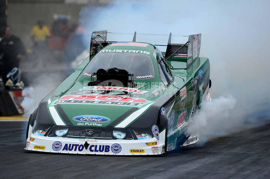 Oct. 8, 2012; Mohnton, PA, USA: NHRA funny car driver John Force during the Auto Plus Nationals at Maple Grove Raceway. Mandatory Credit: Mark J. Rebilas-