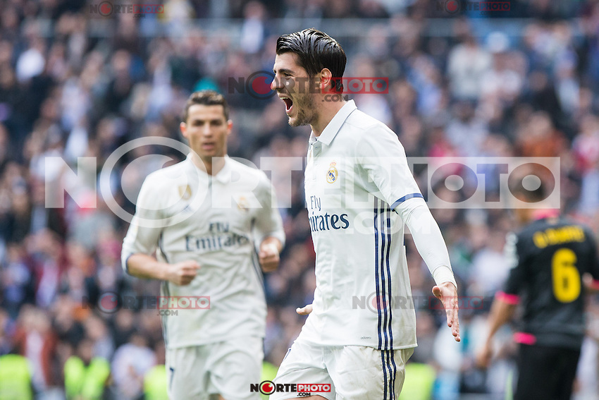 Alvaro Morata of Real Madrid celebrates after scoring a goal during the match of La Liga between Real Madrid and RCE Espanyol at Santiago Bernabeu  Stadium  in Madrid , Spain. February 18, 2016. (ALTERPHOTOS/Rodrigo Jimenez) /Nortephoto.com