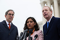 From left to right: President of Princeton University Christopher Eisgruber, Maria Perales Sanchez, and Microsoft President Brad Smith speak to the press after the Supreme Court heard arguments on the Deferred Action for Childhood Arrivals program in Washington D.C., U.S. on Tuesday, November 12, 2019.<br /> <br /> Credit: Stefani Reynolds / CNP /MediaPunch