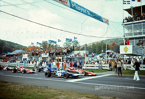 Jackie Stewart's Tyrrell 001 starts from pole in its Grand Prix debut at Canada's St. Jovite, 1970.