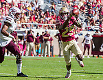 Florida State wide receiver D.J. Matthews makes his first touchdown catch in front of Louisiana Monroe cornerback Marcus Hubbard in the 1st half of an NCAA college football game in Tallahassee, Fla., Saturday, Dec. 2, 2017.  (AP Photo/Mark Wallheiser)