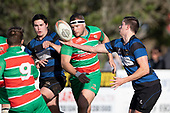 Sam Shuker juggles the ball as he takes the pass. Counties Manukau Premier Club Rugby game between Onewhero and Waiuku, played at Onewhero on Saturday May 26th 2018. Onewhero won the game 24 - 20 after leading 17 - 12 at halftime. <br /> Onewhero Silver Fern Marquees 24 -Vaughan Holdt, Filipe Pau, Sean Bagshaw tries, Rhain Strang 3 conversions, Rhain Strang penalty.<br /> Waiuku Brian James Contracting 20 - Christian Walker, Fuifatu Asomua, Aaron Yuill tries, Christian Walker conversion, Christian Walker penalty .<br /> Photo by Richard Spranger.
