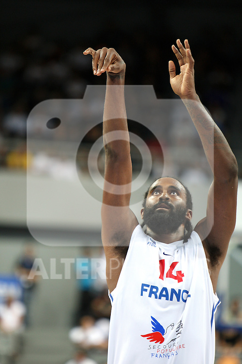 Ronny Turiaf of France takes a free throw. France v Canada, friendly basketball match in preparation for the European championships. Palais Des Sports, Toulouse, France, 27th July 2011.