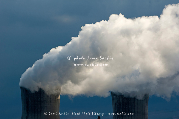 Smoke chimneys of Tricastin Nuclear Power Plant, Drome, France.