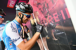 Israel Cycling Academy riders sign on before the start of Stage 3 of the 101st edition of the Giro d'Italia 2018 running 229km flat stage from Be'er Sheva to Eilat is the last in Israel. 6th May 2018.<br /> Picture: LaPresse/Gian Mattia D'Alberto | Cyclefile<br /> <br /> <br /> All photos usage must carry mandatory copyright credit (&copy; Cyclefile | LaPresse/Gian Mattia D'Alberto)