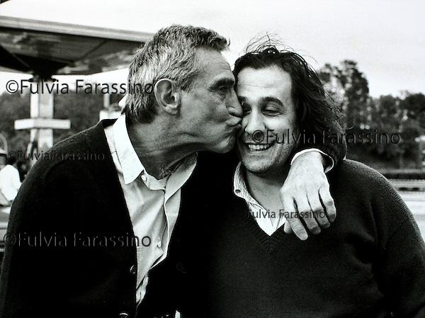 Walter Chiari e Tatti Sanguineti<br /> sul set di: &quot;Romance&quot;<br /> 1986