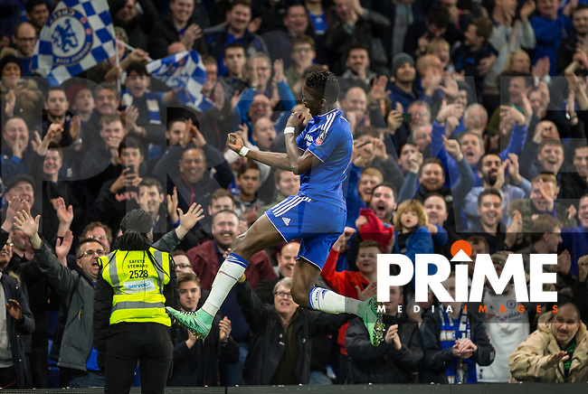Bertrand Traore of Chelsea celebrates his goal during the FA Cup 5th round match between Chelsea and Manchester City at Stamford Bridge, London, England on 21 February 2016. Photo by Andy Rowland.