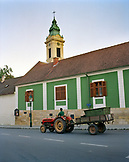 AUSTRIA, Rust, a man drives his tractor to the fields to harvest grapes in the morning, Burgenland