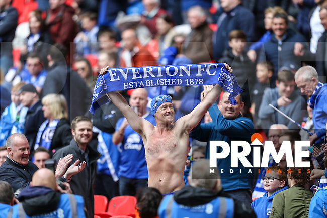 Everton fan Michael Cullen 'Speedo Mick' in Wembley Stadium after completing a mammoth charity walk to the Stadium in his Speedos ahead of the FA Cup Semi-Final match between Everton and Manchester United at Wembley Stadium, London, England on 23 April 2016. Photo by David Horn / PRiME Media Images.
