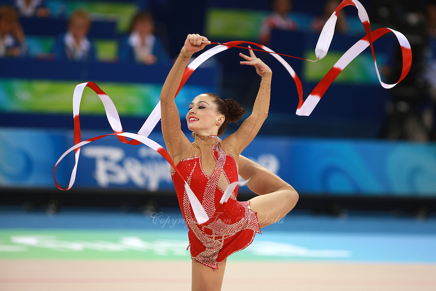 August 22, 2008; Beijing, China; Rhythmic gymnast Irina Risenson of Israel performs with ribbon on way to eventually placing 9th in the All-Around final at 2008 Beijing Olympics. Copyright 2008 Tom Theobald