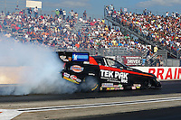 Aug. 17, 2013; Brainerd, MN, USA: NHRA funny car driver Dale Creasy Jr during qualifying for the Lucas Oil Nationals at Brainerd International Raceway. Mandatory Credit: Mark J. Rebilas-