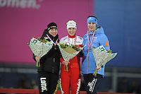 SCHAATSEN: GRONINGEN: Sportcentrum Kardinge, 18-01-2015, KPN NK Sprint, Podium 2e 1000m Dames, Marrit Leenstra, ©foto Martin de Jong