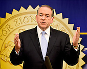 Former Governor Mike Huckabee (Republican of Arkansas), a candidate for the 2016 Republican nomination for President of the United States, shares his thoughts on Israel and the Middle East at the 2015 Christians United For Israel Summit Candidates Forum at the Washington Convention Center in Washington, DC on Monday, July 13, 2015. <br /> Credit: Ron Sachs / CNP