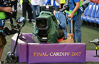 20170601 - CARDIFF , WALES : illustration picture of the TV Broadcasting cameras during a womensoccer match between the teams of  Olympique Lyonnais and PARIS SG, during the final of the Uefa Women Champions League 2016 - 2017 at the Cardiff City Stadium , Cardiff - Wales - United Kingdom , Thursday 1  June 2017 . PHOTO SPORTPIX.BE | DAVID CATRY