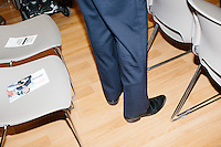 A campaign pamphlet lays on a chair after former Pennsylvania senator and Republican presidential candidate Rick Santorum spoke to an audience at the Concord office of New England College in Concord, New Hampshire.