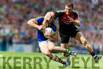 Stephen O'Brien Kerry in action against Chris Barrett Mayo in the All Ireland Semi Final Replay in Croke Park on Saturday.