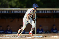 Greg Hardison (12) (UNCG) of the High Point-Thomasville HiToms starts down the first base line against the Martinsville Mustangs at Finch Field on July 26, 2020 in Thomasville, NC.  The HiToms defeated the Mustangs 8-5. (Brian Westerholt/Four Seam Images)