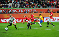 Rosana (2nd right) of team brazil scores 2:0 against goalkeeper Ingrid Hjelmseth of Norway during the FIFA Women's World Cup at the FIFA Stadium in Wolfsburg, Germany on July 3rd, 2011.