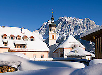 Austria, Tyrol: Lermoos with village church and Zugspitze mountain