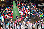 Huge crowds turned out for the turning on of the Christmas lights in Cahersiveen on Saturday night pictured here with Santa and Cahersiveen Gospel Choir.
