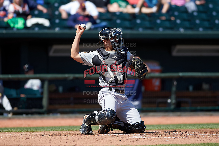 Wisconsin Timber Rattlers catcher Brent Diaz (18) during a Midwest League game against the Great Lakes Loons at Dow Diamond on May 4, 2019 in Midland, Michigan. Great Lakes defeated Wisconsin 5-1. (Zachary Lucy/Four Seam Images)