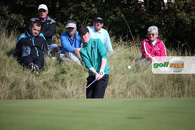 Gavin Moynihan (IRL)  chips to the 12th during Sunday morning Foursome matches of The Walker Cup 2015 played at Royal Lytham and St Anne's, Lytham St Anne's, Lancashire, England. 13/09/2015. Picture: Golffile | David Lloyd<br /> <br /> All photos usage must carry mandatory copyright credit (&copy; Golffile | David Lloyd)