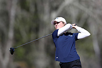 WALLACE, NC - MARCH 09: Keri Kenkel of UNC Wilmington tees off on the 12th hole of the River Course at River Landing Country Club on March 09, 2020 in Wallace, North Carolina.