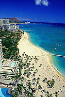 Aerial view of Waikiki beach coastline with hotels and Diamond head