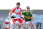 Brian McGuire Kerry in action against Mark Lynch Derry in round Two of the National Football league at Fitzgerald Stadium, Killarney on Sunday the 9th of February.