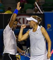 ELENA VESNINA (RUS) & LEANDER PAES (IND) against BETHANIE MATTEK-SANDS (USA) & HORIA TECAU (ROU) in the Final of the Mixed Doubles. Bethanie Mattek-Sands & Horia Tecau beat Elena Vesnina & Leander Paes 6-3 5-7 (10-3)..29/01/2012, 29th January 2012, 29.01.2012 - Day 14..The Australian Open, Melbourne Park, Melbourne,Victoria, Australia.@AMN IMAGES, Frey, Advantage Media Network, 30, Cleveland Street, London, W1T 4JD .Tel - +44 208 947 0100..email - mfrey@advantagemedianet.com..www.amnimages.photoshelter.com.