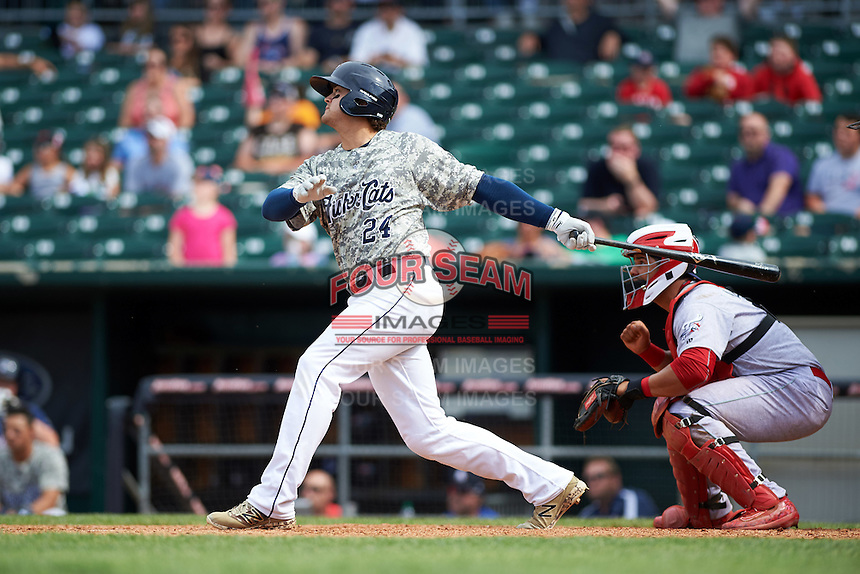 New Hampshire Fisher Cats designated hitter Matt Dean (24) at bat in front of catcher Jorge Alfaro (11) during a game against the Reading Fightin Phils on May 30, 2016 at Northeast Delta Dental Stadium in Manchester, New Hampshire.  New Hampshire defeated Reading 9-1.  (Mike Janes/Four Seam Images)
