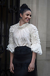 Street Style during Paris Fashion Week Spring Summer 2018 on Saturday 30th September 2017. Image shows actress and presenter Brooke Chamberlain. She wears a white silk top and a black Cuba skirt both by Lisa Brown Designs.(Photo by JSTREETSTYLE/AFLO)(Photo by JSTREETSTYLE/AFLO)