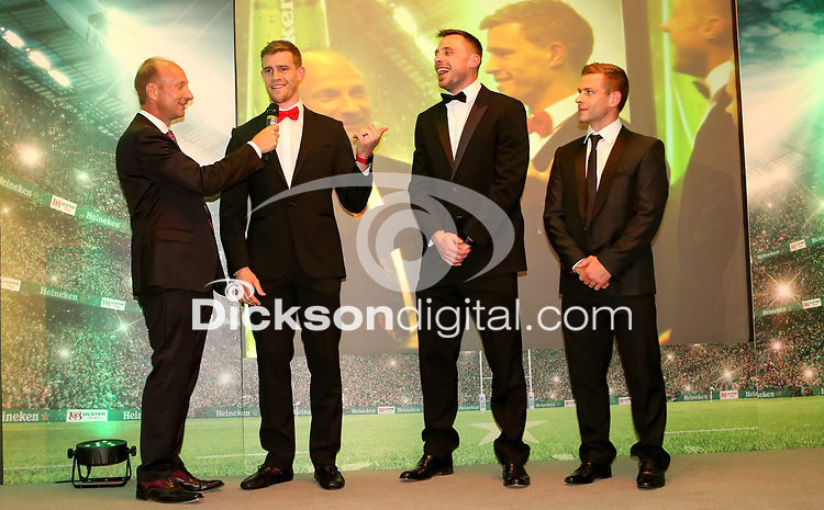 Thursday 10th May 2018 | Ulster Rugby Awards 2018<br /> <br /> Stephen Watson interviews retiring player Tommy Bowe, during the 2018 Heineken Ulster Rugby Awards at La Mom Hotel, Belfast. Photo by John Dickson / DICKSONDIGITAL
