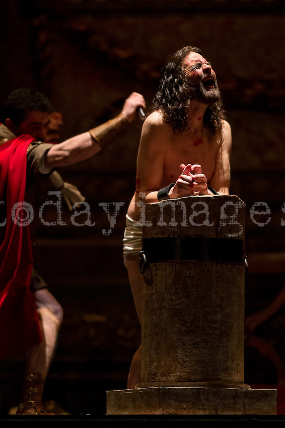 Flagellation of Jesus tied to a column