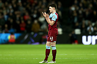 29th January 2020; London Stadium, London, England; English Premier League Football, West Ham United versus Liverpool; Declan Rice of West Ham United reacts as he sees Manuel Lanzini being substituted